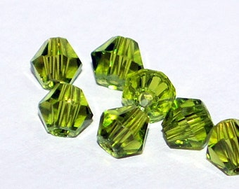 25 pcs 4mm Transparent Faceted Chartreuse Olivine Lime Green Bicone Crystals