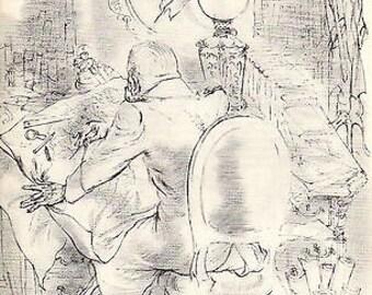 """George Grosz 1939 Wpa Book Print """"The General"""" Vintage Portrait Cartoon Art Sketch"""