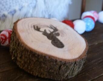 Deer Wood Slice Decoration, Deer Wooden Sign, Deer Silhouette Art, Holiday Gift, Art on Wood, Hand Painted, Sign, Door Decor, Primitive