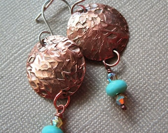 Hammered Copper Discs Earrings With Sterling Silver Ear Wires, Domed Copper Disc, Copper Earrings