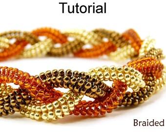 Beading Tutorial Pattern - Tubular Herringbone Stitch - Beaded Bracelet - Simple Bead Patterns - Braided #1394