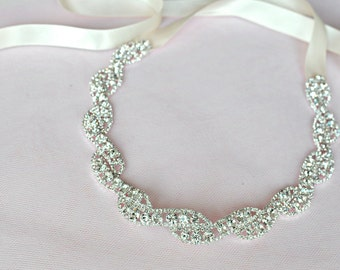 Rhinestone Ribbon Headband, Wedding Headpiece, Rhinestone, Crystal, Accessories, Bridal, Wedding, sparkle