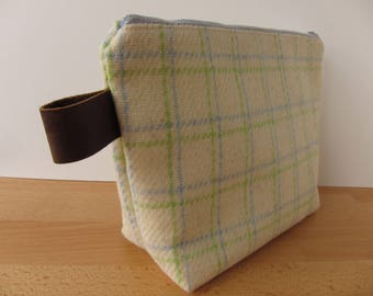 Vintage Pastel Wool Plaid and Leather Large Zipper Pouch Bag