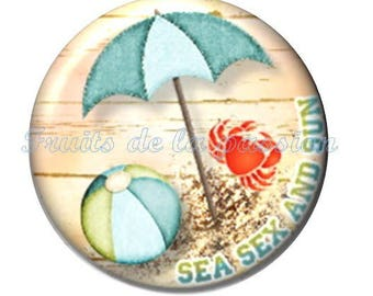 Set of 2 cabochon 18mm round glass vacation, beach.
