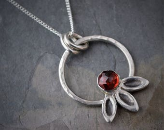 Red Garnet Necklace, Prairie Coneflower Pendant, Faceted Rose Cut Gemstone, Wildflower Necklace, Sterling Silver, January Birthstone