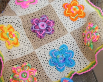Adorable One of A Kind Crocheted Flip Flop Sandal Flowers Baby Blanket