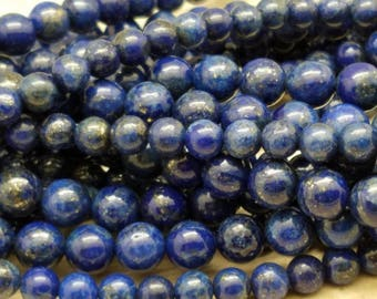 4 mm or 6mm or 8mm Lapis Lazuli Smooth Rounds, 15 inch