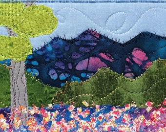 Blue Ridge Mountains - Flower Lover - Mountain Landscape - Mothers Day Gift - Fabric Postcard - Cheerful Wall Art - Hostess Gift - Mom Gift