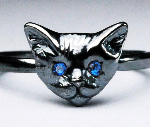 Black Sterling Silver Kitty Cat Ring with Blue Sapphire or Blue Spinel Eyes