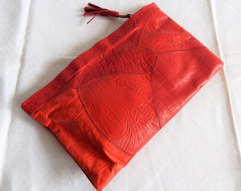 """1980s Disco Red Leather Clutch; Patchwork Embossed Leather 8.5"""" x 13.5"""""""
