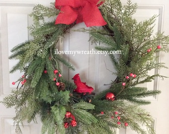 Christmas cardinal wreath, wreaths for door, holiday wreaths, Christmas burlap wreath, Christmas door wreaths, wreaths for front door