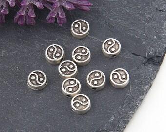 Silver Ying/Yang Beads, Flat Ying/Yang Beads, Double sided, 10 pcs // SB-122