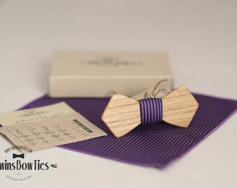 Wood bowtie Igor Artem + pocket square. Personal engraving wooden bow ties. Men Accessories. 100% hand made. Best personal gift.