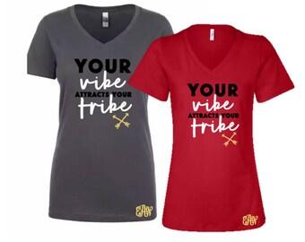 Tribe Vibe V-Neck Tee Optional Monogram Personalization