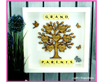 GrandParents Mothers Day Family Tree picture frame Grandparent gift personalised Grandchildren art scrabble family tree Mothers Day Present