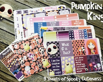 Pumpkin King Jack Halloween Planner Sticker Kit - For Use with Erin Condren - Happy Planner Stickers - Fall Autumn Planner Kit