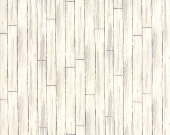 Homegrown whitewash plank fabric print sold by the yard rustic barn