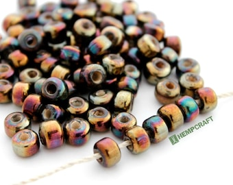 Glass Pony Beads, Bronze Color 9mm Glass Crow Rollers, 50pc