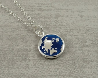 Earth Globe Necklace, Sterling Silver and Blue Globe Charm on a Silver Cable Chain