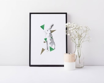 Jump - A5 Rabbit Bunny Illustration Art Print