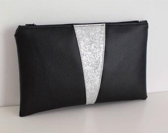 Pochette Black & Silver en simili cuir