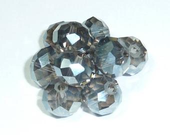 10 pearls 8mm iridescent dark gray swarovski crystal