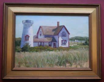 Stage Harbor Lighthouse, Original Oil Painting, Cape Cod