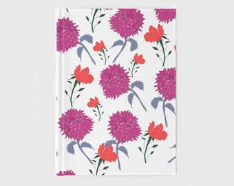 Hardcover Journal: Pink Dahlia Print