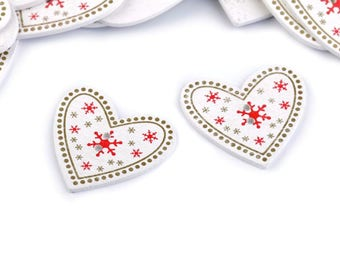 6 buttons heart wood 33 mm
