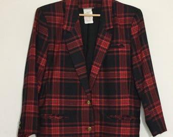 Vintage 1980's 'Heathers' Red / Black Plaid Blazer