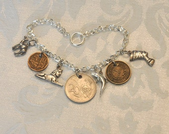 Africa Charms and Coins Bracelet, Vintage coins and silver charms, South Africa 1994 Nelson Mandela, Camel, Sphinx, Dolphin, Nefertiti, OOAK