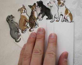 Pitbull Dog Bookmark - Choose one - hand painted