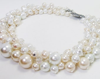 Pearl Necklace, Ivory and White cluster necklace, Chunky Necklace, White Pearl Jewelry, Ivory Pearl Jewelry, Pearl Necklace, Cluster Jewelry