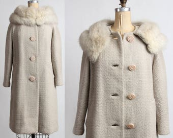 1950s Fox Fur Coat . Wool Jacket .  Mid Century