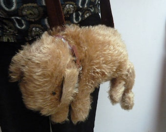 Antique English Pajamas Bag in the shape of a dog, entertained to shoulder bag