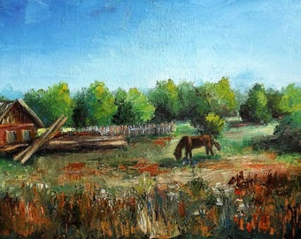 Original painting Oil painting landscape Palette knife oil painting Textured painting  Wall decor Living room decor Painting The Village