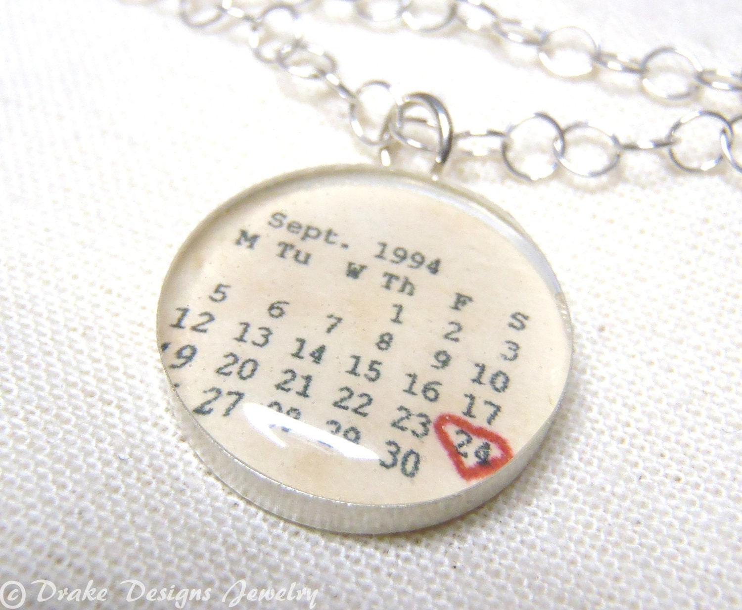1st Wedding Anniversary Gift: Personalized Calendar Necklace ...First Anniversary Paper