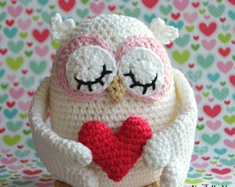 Crochet pattern - Valentines Owl by VendulkaM - amigurumi/ Valentine's day gift / decoration/ crochet toy, digital pattern, DIY, pdf