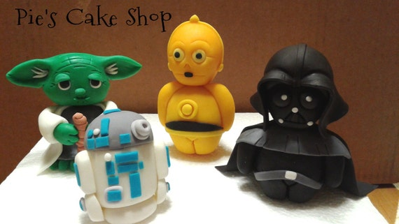 Large Fondant STAR WARS Cake toppers C3PO all edible cake