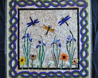 "FREE SHIPPING Mosaic Backsplash Inset Dragonfly-Iris - Custom Designed - 24"" by 24"" - stained glass - glass tile - mosaic kitchen"