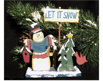 Let it Snow sign -  Snowman tree scene - Wood Snowman decor , Frosty the Snowman Figurine - Snowman decor - folk art snowman -   # 58