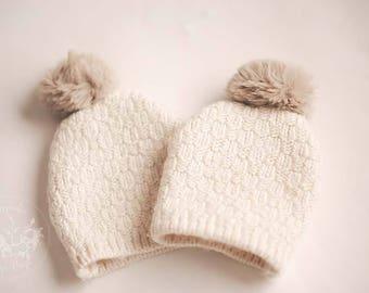 Winter Beanie Pom Pom Hat Photography Prop Bonnet Knit Hat Newborn