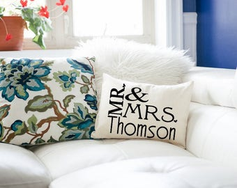 Personalized Pillow, Mr. & Mrs., Silver anniversary, 2nd anniversary, Cotton anniversary, heart, wedding gift, anniversary gift -connally-