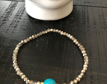 Crystal and turquoise bracelet