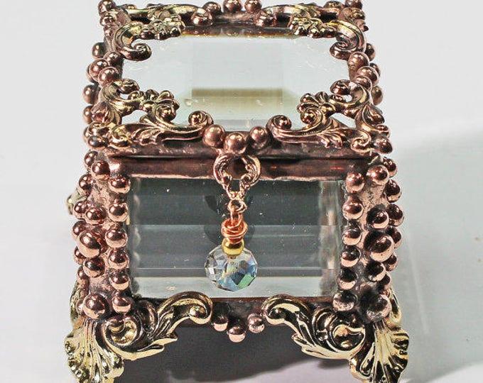 Ring Box, Keepsake Box, Treasure Box, stained glass box, stained glass, engagement ring box, wedding ring box, ring display box