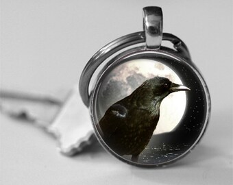 Full Moon Raven Photo Pendant Necklace or Key Chain Black Crow Edgar Allen Poe