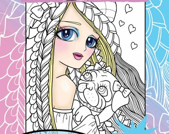 Digital Edition Anime Doodle Girls Volume 2 Coloring Book for adult coloring
