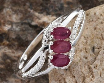 3 Stone Burmese Ruby Ring - Size 8