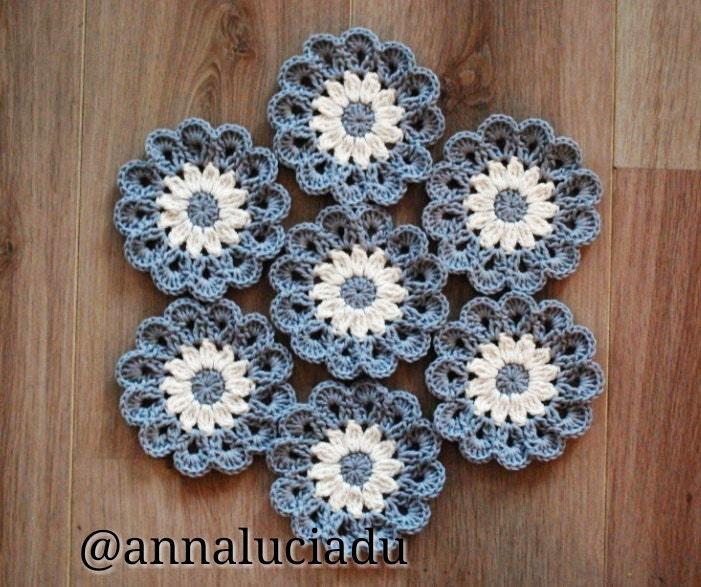 Crochet coasters Crochet Flowers Applique Grey Crochet