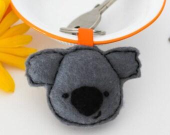 Koala bear felt keyring, Koala bear gifts, Australian animal keyring, Cute bag accessory, Koala handbag accessory, Kawaii koala gift